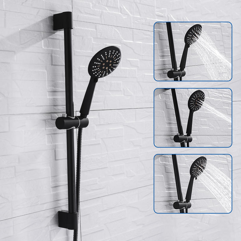 Wall Mounted Black Coating Shower Set with Hand Shower Stainless Steel Hose Adjustable Sliding Bar
