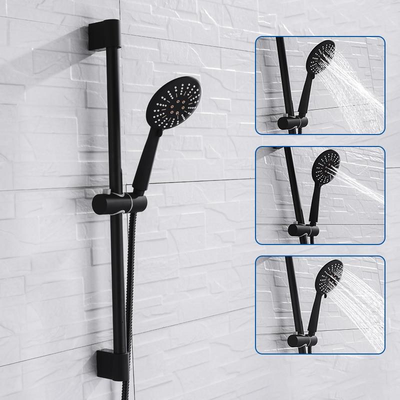 Wall Mounted Black Coating Shower Set With Hand Shower Stainless Steel Hose Adjustable Sliding Bar