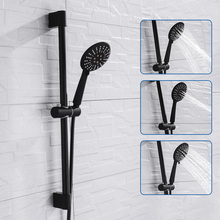 Wandmontage Zwarte Coating Douche Set met Handdouche Rvs Slang Verstelbare Sliding Bar