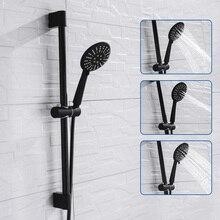 Zestaw prysznicowy naścienny czarna powłoka z rączka prysznica wąż ze stali nierdzewnej regulowana belka ślizgowa