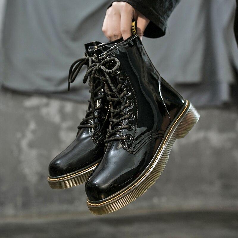 Ботинки Doc Martens из натуральной кожи; Женские ботильоны на платформе в британском стиле; Плотные короткие женские ботинки; Мотоциклетная куртка с рисунком; 2020|Полусапожки| | АлиЭкспресс