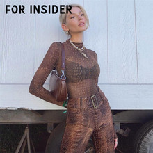 For Insider Long sleeve club party sexy bodysuit Snake print skinny o neck bodycon body suit Women playsuit romper streetwear