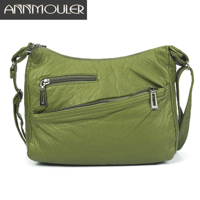Annmouler Fashion Women Crossbody Bag Green Shoulder Bag Soft PU Leather Messenger Bag Multi-pockets Women Handbag Purse Zipper