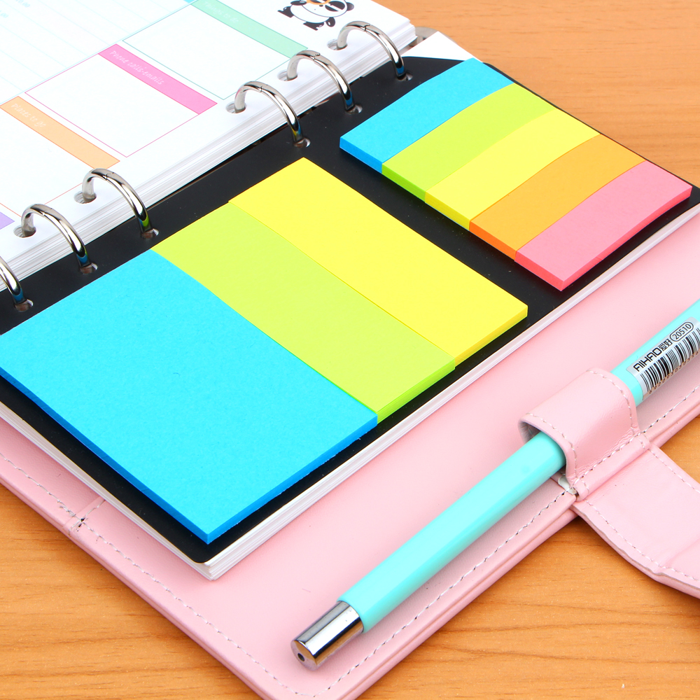 A5A6 Planner Accessory Colored  N 6 Holes Binder Sticky Notes Office School Supplies Planner Spiral Memo Pads