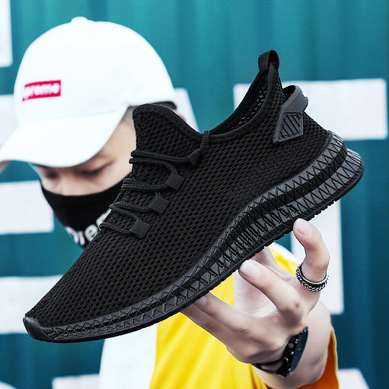 Running Sport Shoes + Male 2020 Sneakers Men Sneakers Black Mesh Breathable Lace Up Men Casual Men Shoes Zapatillas Hombre New