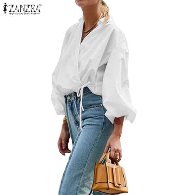 Zanzea 2020 Vrouwen Bladerdeeg Mouw Blouse Mode Office Lady Lace-Up Katoenen Shirt Casual Solid Strappy Tuniek Blusas Werk chic Tuniek