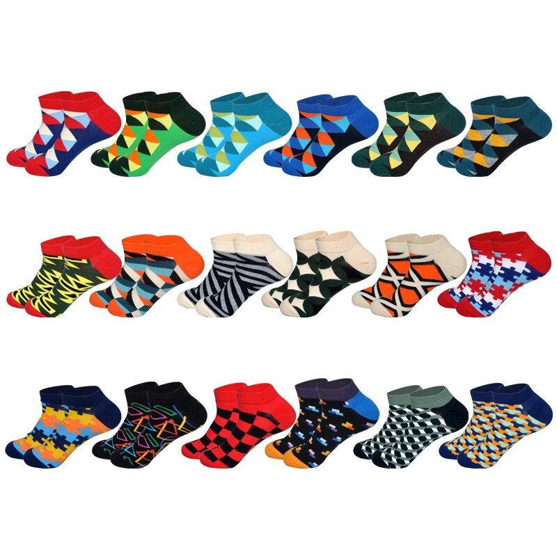 LIONZONE Men's Business Invisible Boat Socks Geometry Triangle Rhombus Rectangular Square Block Black Socks EUR40-46