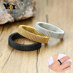Vnox Men's Mesh Wedding Bands Rings for Women 4mm 10mm Wide Stainless Steel Anti Allergy Retro Punk Gothic Unisex Jewelry