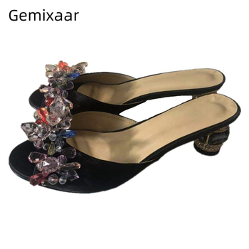 Colorful Rhinestone Flower Decor Party Shoes Sexy Open Toe Jeweled Crystal Heel Luxury Satin Diamond Slippers Women