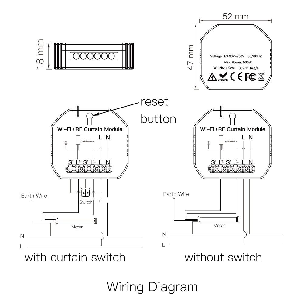WiFi RF Smart Curtain Blinds Module Switch Roller Shutter Motor Tuya Wireless Remote Control Work with Alexa Google Home 6