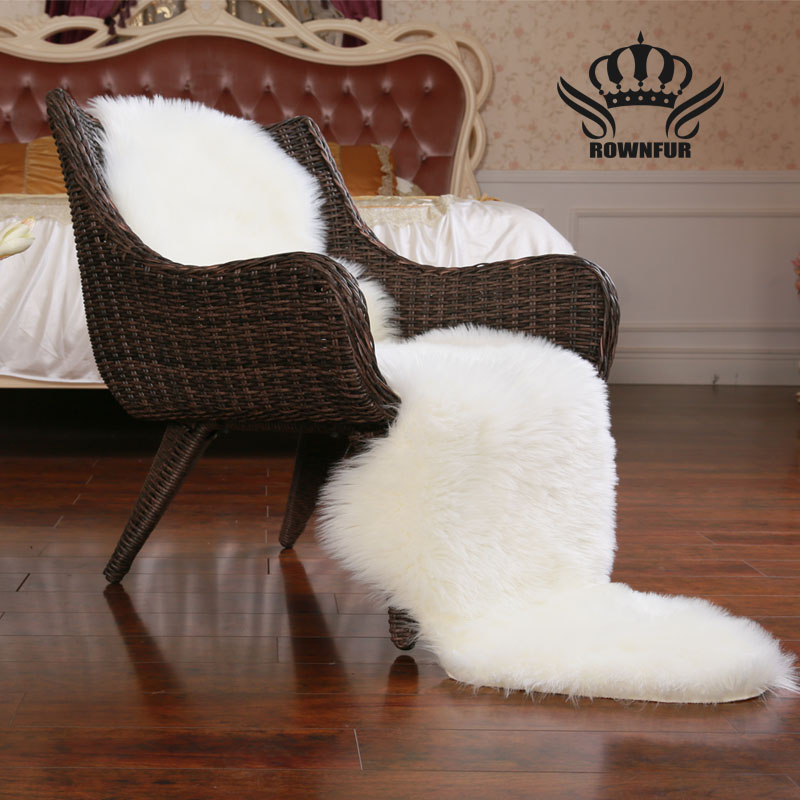 ROWNFUR Sheepskin Faux Fur Carpets Rugs For Home Bedroom Kids Living Room Chair Warm High Quality Non-slip White Gray Plush Mat