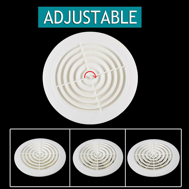 Round Air Vent ABS Louver Grille Cover Adjustable Exhaust Vent For Bathroom Office Ventilation MU8669