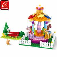 AUSINI Carousel Model Bricks Blocks Constructor City Building Toys for Children Princess Girls Figures Park Playground Pet Dog