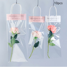 10pcs Florist Decoration Gift Bags with Handles Transparent Waterproof Bag Wrapping Flower Packaging