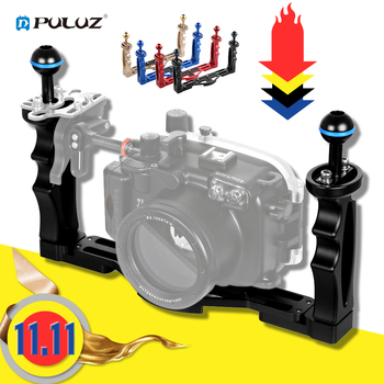 PULUZ Handle Aluminium Alloy Tray Stabilizer Rig for Underwater Camera Housing Case Diving Tray Mount for GoPro DSLR Smartphones