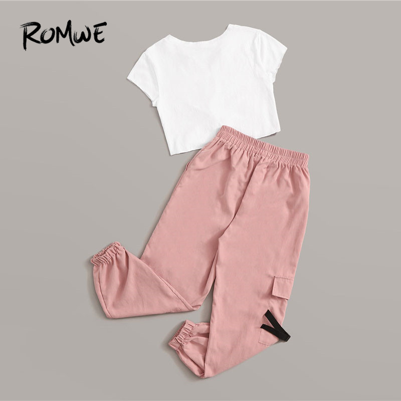Image 2 - Romwe Sporty Letter Print Knot Front Tee and Cargo Pants 2 Piece Set Women Jogging Activewear Casual White Tee Matching Set-in Running Sets from Sports & Entertainment on AliExpress