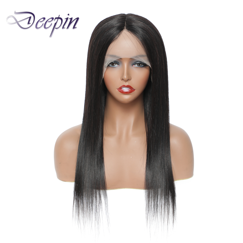 Deepin 13x1 кружева передние человеческие волосы парики часть кружева парик перуанские пучки Non-Remy натуральный Цвет 12