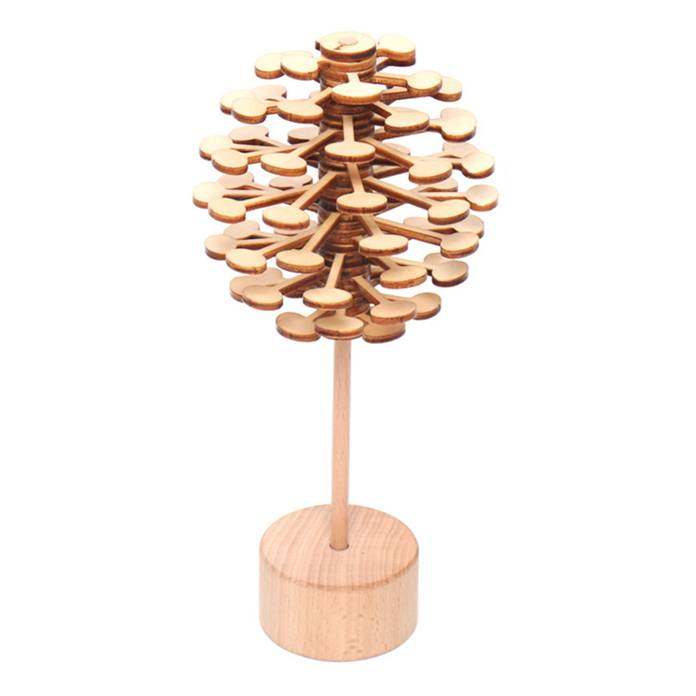 Office Wooden Lollipop Look Magic Spin Gift Decompression Toy Artwork Colorful Roll Kids Durable DIY Rotating Fun