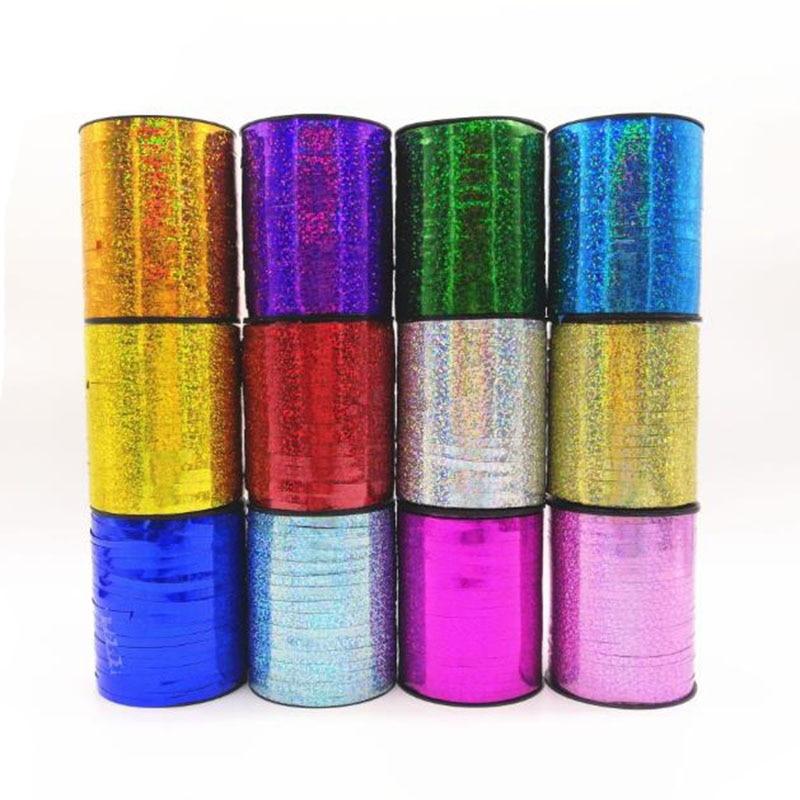 Лента-лазер Ynaayu 10 м/20 м/30 м, атласные ленты для украшения свадьбы, дня рождения, воздушных шаров, подарочный пакет, упаковка для торта