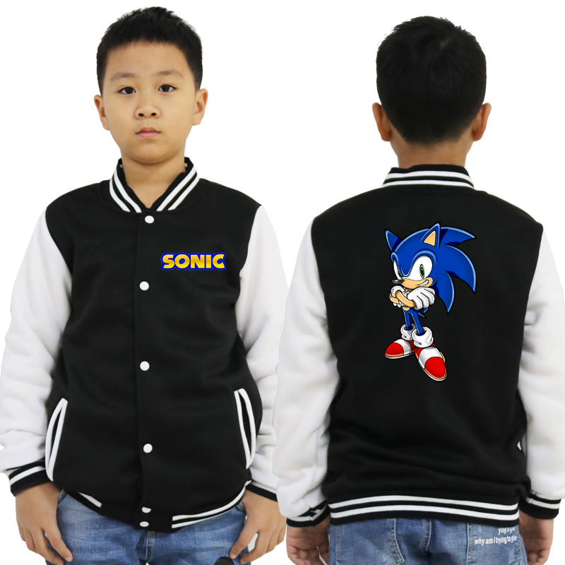 Men Women New 2019 Sonic Jacket Sportswear Fashion Casual Long Sleeve Boys Girls Cotton Sweatshirts Outwear Baseball Clothes