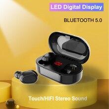Bluetooth 5.0 Wirless אוזניות HIFI סטריאו בס אוזניות MicHeadset עמיד למים LED תצוגת אוזניות עבור Samsung Xiaomi הערה 10