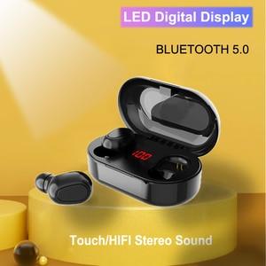 Image 1 - Bluetooth 5,0 Wirless Kopfhörer HIFI Stereo Bass Kopfhörer MicHeadset Wasserdichte Led anzeige Ohrhörer für Samsung Xiaomi Hinweis 10