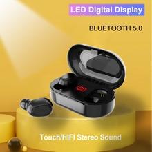 Bluetooth 5.0 Wirless Tai Nghe Hifi Stereo Bass Micheadset Chống Nước Màn Hình Hiển Thị LED Tai Nghe Nhét Tai Samsung Xiaomi Note 10