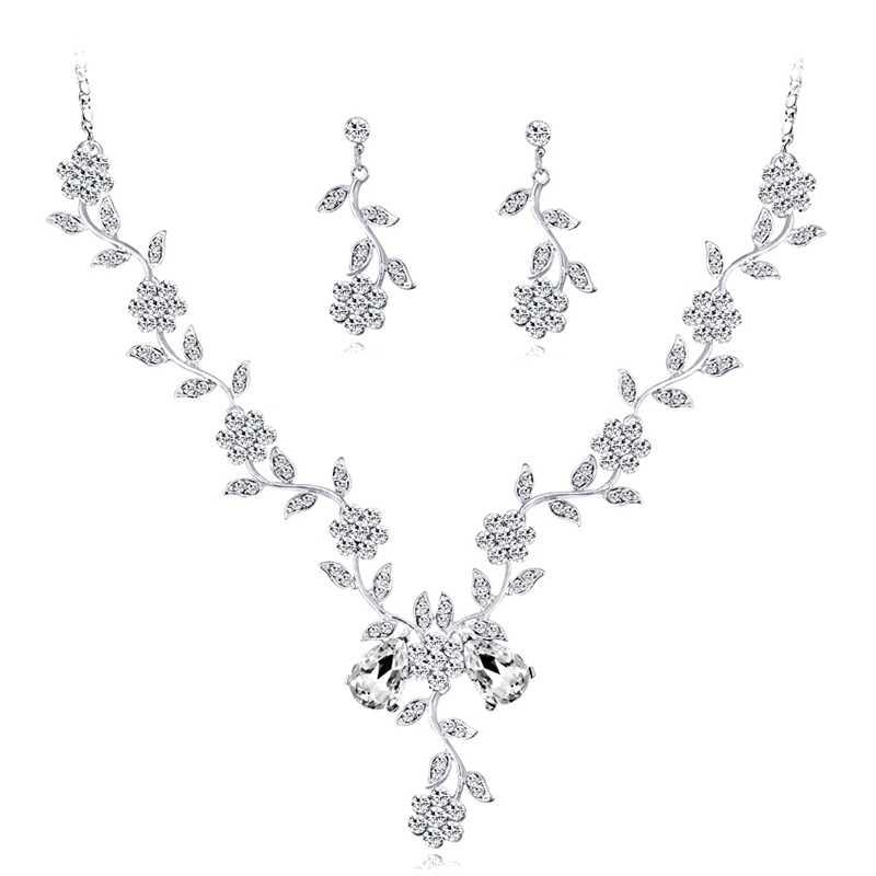 Women S Crystal Diamond Necklace Set Two Piece Fancy Bridal