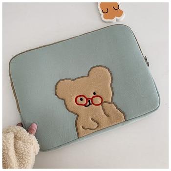 Korean Fashion Laptop Case Bag For Cartoon Glasses Bear Ipad Pro 9.7 10.5 11 13 inch Tablet Sleeve 15 inch Laptop Inner Bag 1