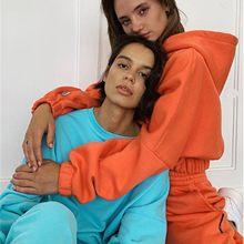 Zwei Stück Sets Damen Spitze Up Sweatshirt Anzug Frauen Elegante Solide Sets Für Frauen Warme Hoodie Sweatshirts Und Lange Hose mode