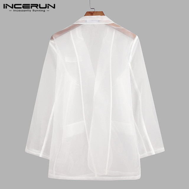 Fashion Men Mesh Blazers Transparent Lapel Long Sleeve Sexy Casual Coats 2021 One Button Streetwear Party Men Suit S-5XL INCERUN 4