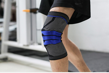 Silicone Padded Knee Pads Supports Brace Basketball Fitness Meniscus Patella Protection Kneepads Sports Safety Knee Sleeve