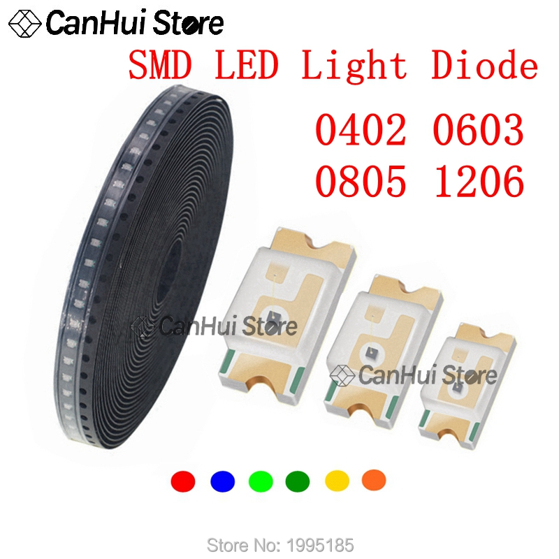 100pcs 0402 0603 0805 1206 SMD LED Red Yellow Green White Blue Orange Light Emitting Diode Water Clear SMT LED Light Diode Set