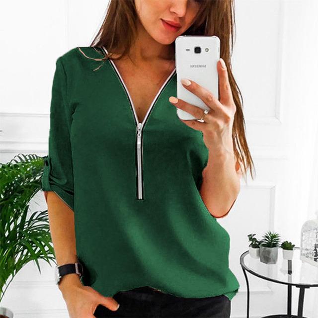 Zipper Short Sleeve Women Shirts V Neck