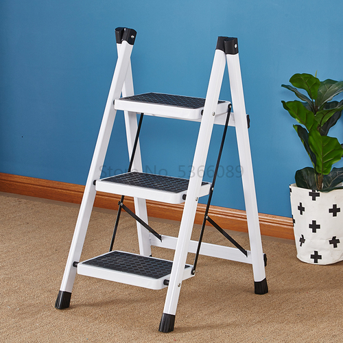Folding Step Ladder Stool Three-step Thickened Iron Pipe Indoor Ladder Three-step Ladder Kitchen Ladder Folding Step Stool