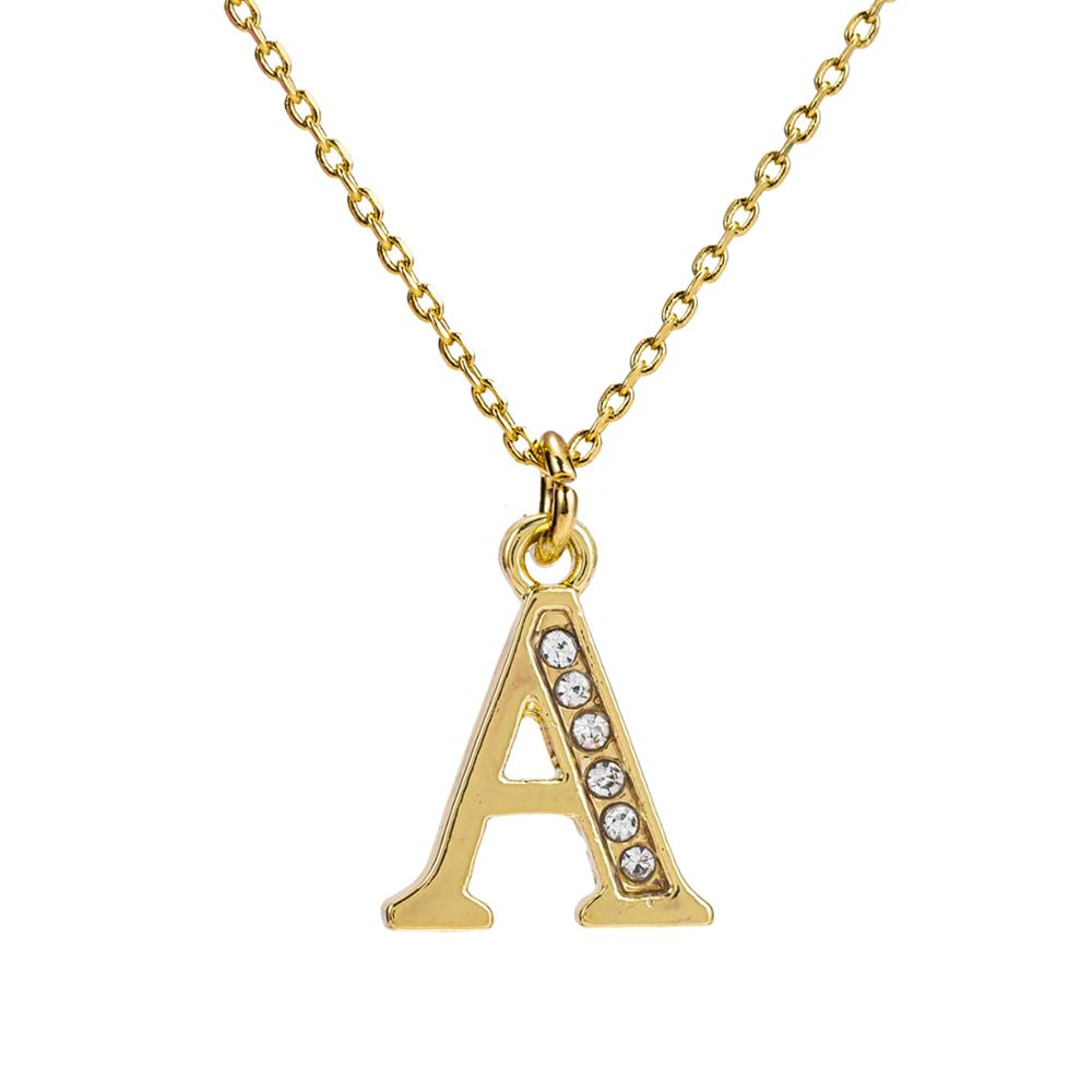 Gold Color 26 Initial Letter Zircon Filled Pendant Necklace for Women Men Link Chain Wedding Birthday Jewelry
