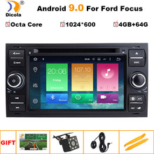 Car DVD Player Android 9.0 DAB+2din In Dash For Ford Transit Focus Connect S-MAX Kuga Mondeo With QuadCore Wifi 4G GPS Bluetooth(China)