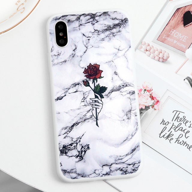 Marble Flower Soft TPU Capa Cases For iPhone 11 Pro Max For iPhone XS Max X XR 7 8 6 6S Plus 5 5S SE 2020 11Pro Case Print Coque 4