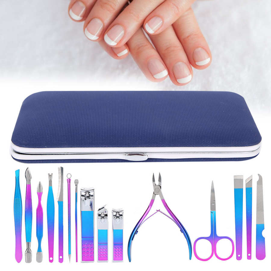 12/15pcs Nail Clipper Set Eyebrow Scissors Dead Skin Pusher Manicure Pedicure Kit (<font><b>7023D</b></font>) for Nail Art Manicure Grinding Machine image