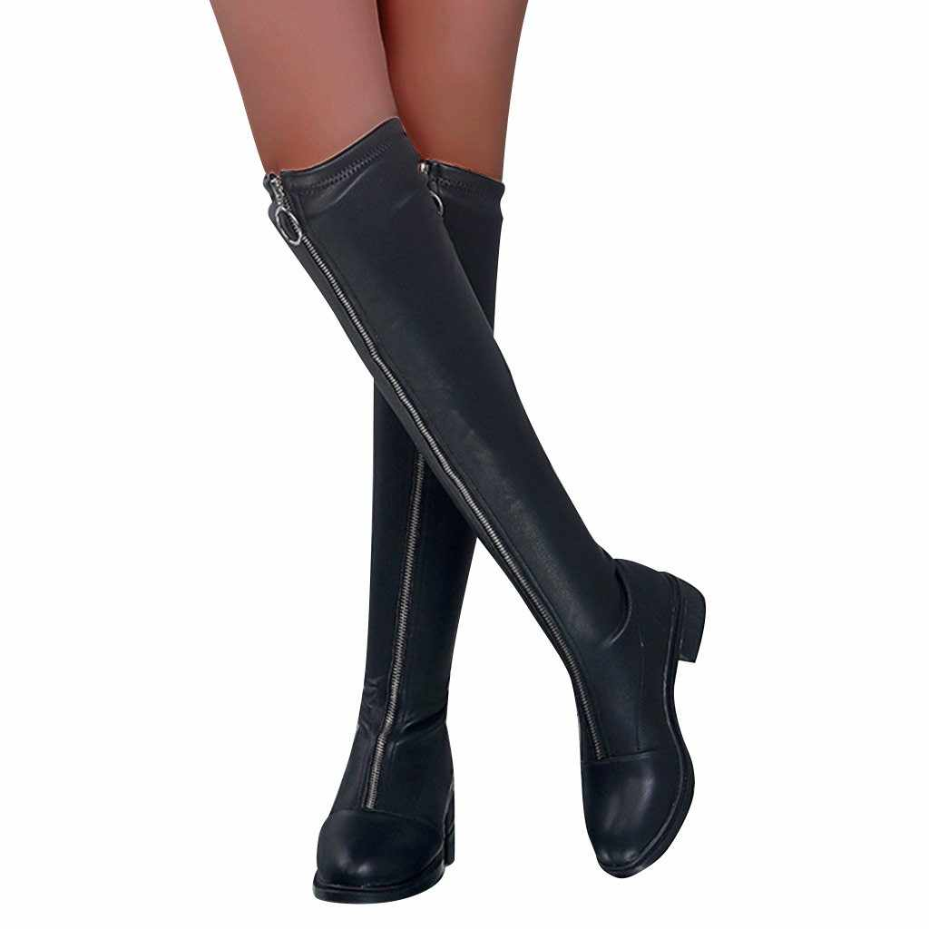 ฤดูหนาวรองเท้าผู้หญิง Kneeth ซิปด้านหน้าจี้ Warm Fretwork ส้นสูงรองเท้าส้นสูงเซ็กซี่รองเท้าสบายๆสีสีดำ Keep Warm รองเท้า