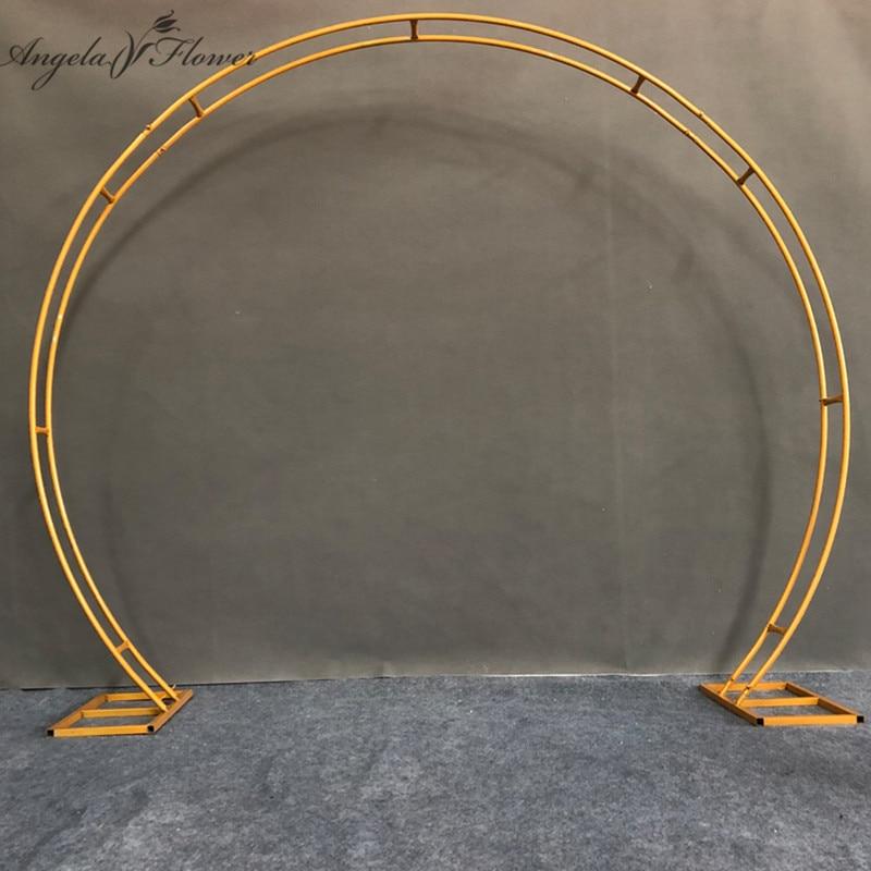 2.4M accessoires de mariage anneau rond simple/Double Tube arc de mariage toile de fond décor fête anniversaire artificiel fleur support étagère cadre