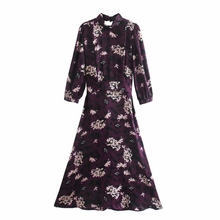 Midi Dress Loose-Clothes Flower-Printing Pleating Vestido Casual Women Female Sashes
