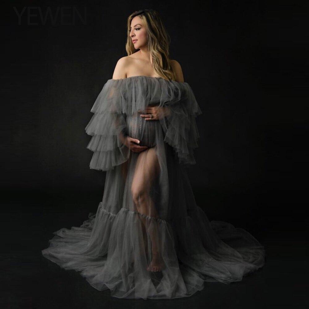 High-End Elegant Tulle Maternity Dress Photography Props Long Dresses Pregnant Women Clothes Fancy Pregnancy Photo Props Shoot
