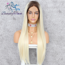BeautyTown Brown Root Ombre Blonde High Temperature Fiber Glueless DragQueen Daily Makeup Wedding Party Synthetic Front Lace Wig