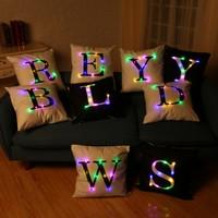 Letter Printed LED Throw Pillow Cover Decorative Pillowcase Sofa Cushion Cover Home Decor 45 x 45cm Pillow Case