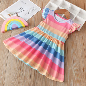 2020 Summer Girls Dress Kids Fly Sleeve Stripe Rainbow Princess Dress Pageant Gown Wedding Birthday Party vestidos Girls Clothes