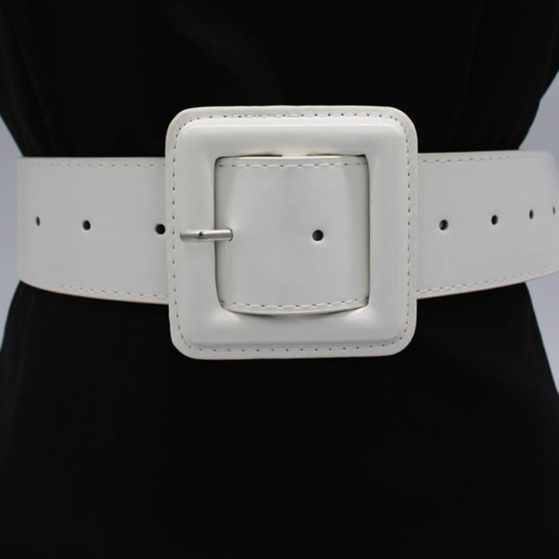 Big Square Buckle Belts For Women Bright Patent Leather Waist Black Pin Buckles Wide Belt Ladies Casual Dress Waistbands Femme