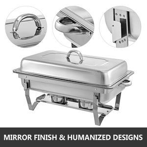 Image 3 - 食品擦過皿 4 個 9Lステンレス鋼フルサイズコガネムシビュッフェ水パン燃料ホルダーやふたケータリングウォーマー