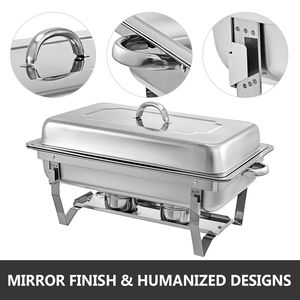 Image 3 - Food Chafing Dishes 4 Pieces with 9L Stainless Steel Full Size Chafer Buffet Water Pan Fuel Holder and Lid For Catering Warmer