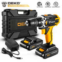 DEKO New Sharker 20V DC Electric Screwdriver with Lithium Ion Battery Pack Cordless Drill for Home DIY Mini Wireless Power Tool